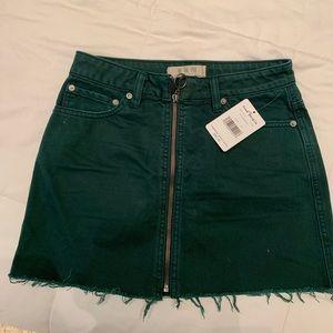 Free people green mini jean skirt